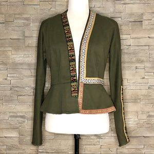Rachel Roy olive green blazer w/ embroidered trim